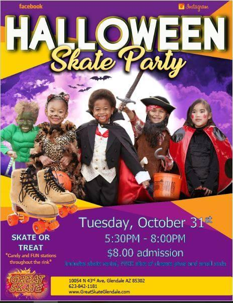 our skate or treat party will be the best halloween event in town bring the kids for dinner skating and trick or treating around the rink